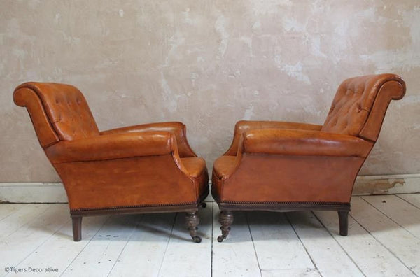 Pair of Edwardian Leather Arm Chairs