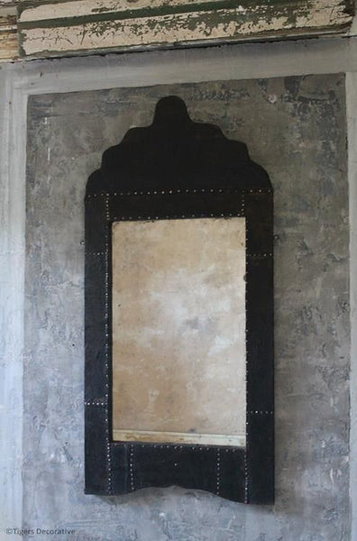 Early 20th Century Leather & Steel Studded Mirror