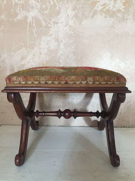 Walnut Needle Work Stool