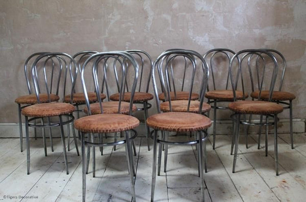 Set Of 12 1970's Italian Steel Dining Chairs