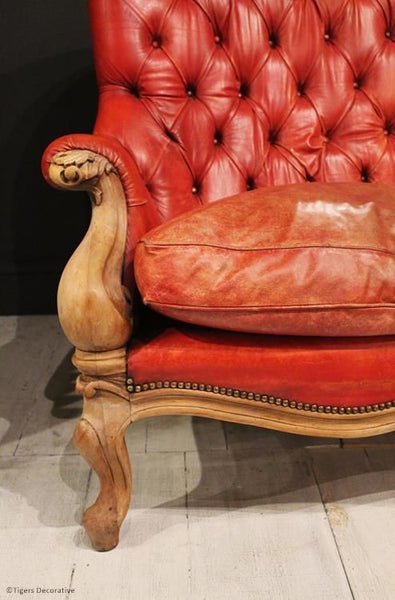 French Red Leather Chesterfield Sofa