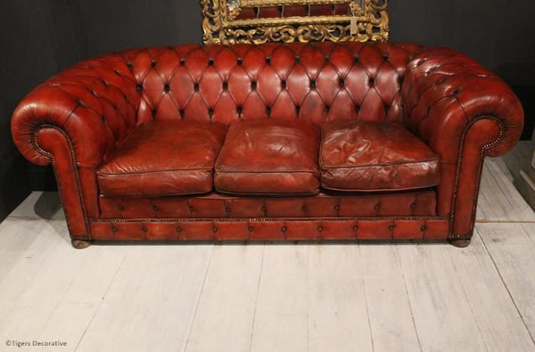 1970's Three Seater Leather Chesterfield Sofa
