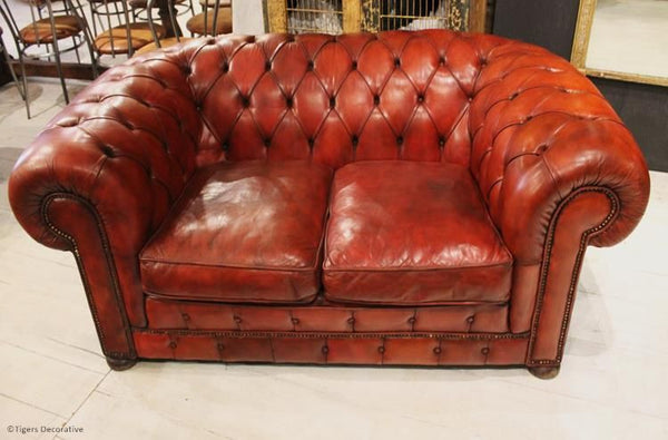 1970's Two Seater Leather Chesterfield Sofa