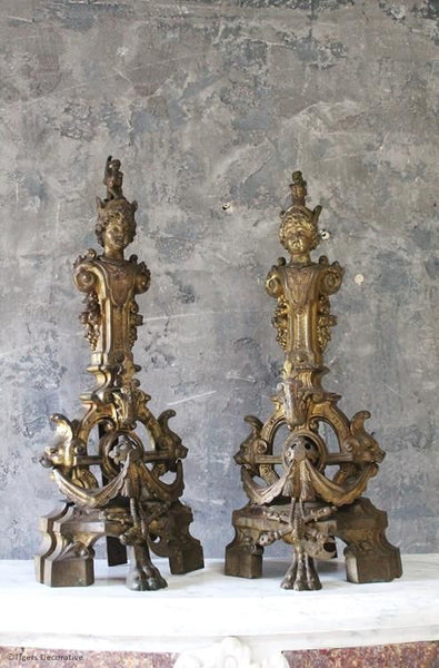 Pair Of 19th Century French Gilt Brass Chenets