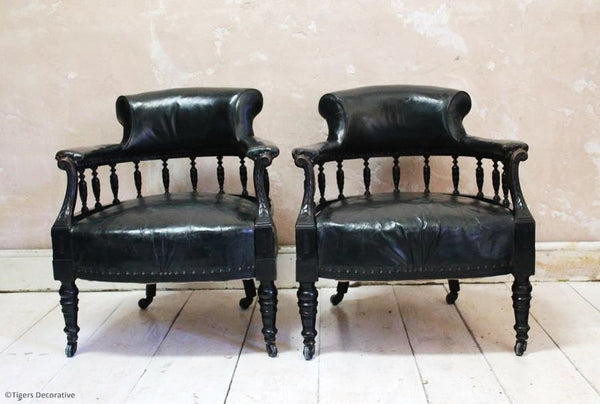 Pair of Late 19th Century Leather Chairs
