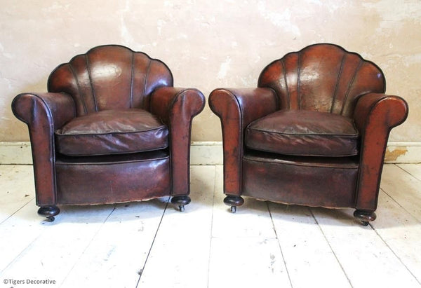 Pair of 1930's Art Deco Leather Club Chairs