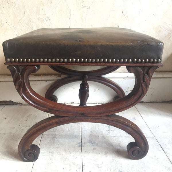 Regency Rose Wood Leather Stool