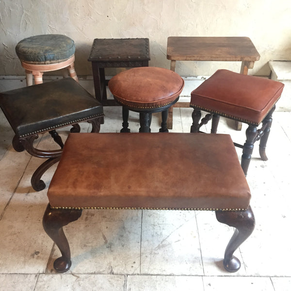 Carved Oak & Embossed Leather Stool