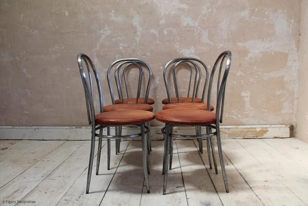 Set Of 6 1970's Italian Steel Dining Chairs