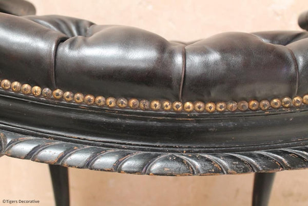 Ebonised & Leather Stool