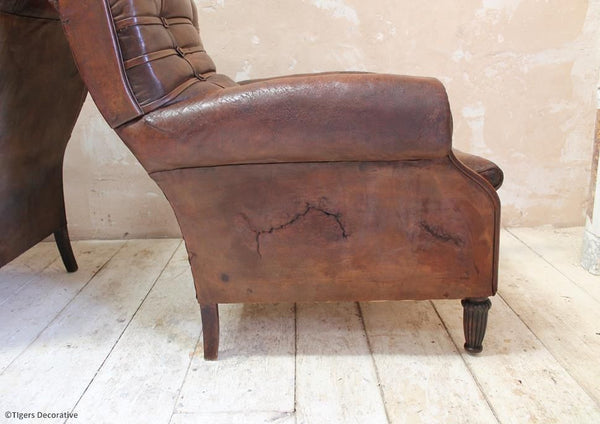 Pair of Edwardian Leather Club Chairs