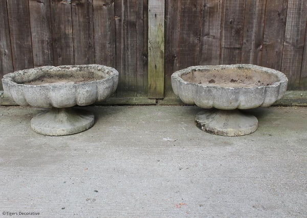 Pair Of Scalloped Planters