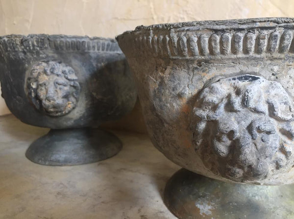 Pair Of Lead Urns