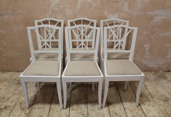 Six Painted Danish Dining Chairs