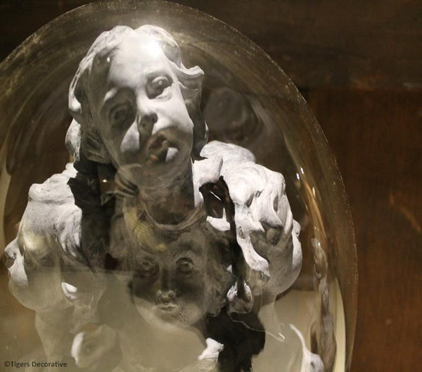Victorian Glass Dome With Cherub Heads