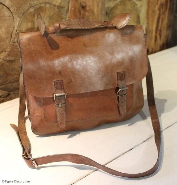 Vintage Leather Tan Satchel