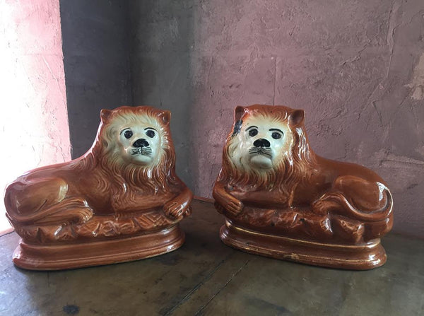 Pair Of Pottery Lions