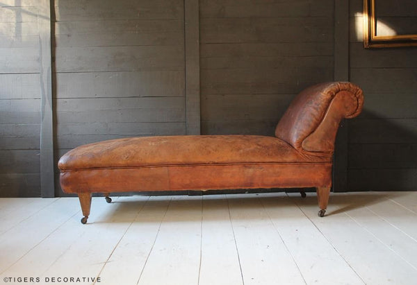 19th Century Leather Chaise