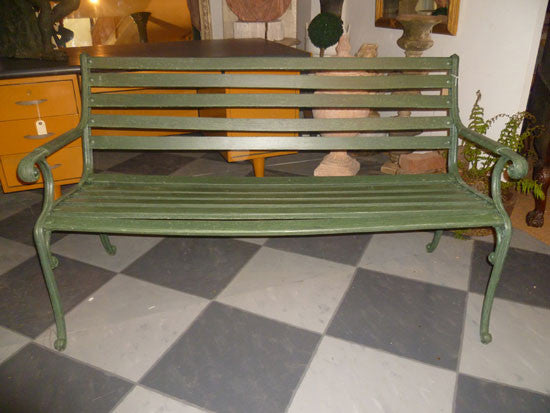 Mid 20th Century Green Painted Metal Garden Bench