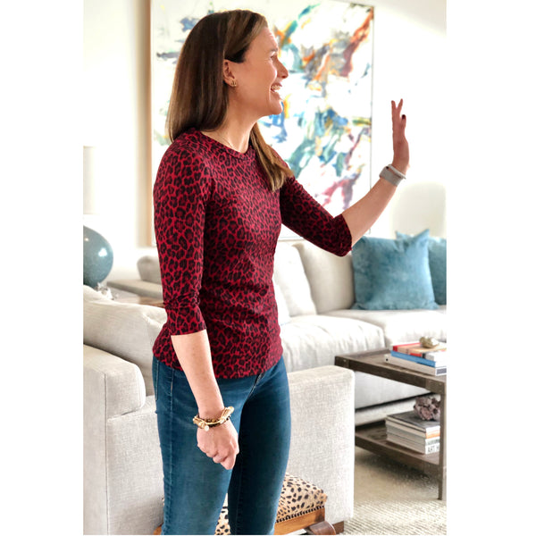 ANNIE 3/4 Sleeve Tee - Burgundy Leopard - Tiny only