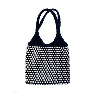 MACRAME BEAD BAG White/Black