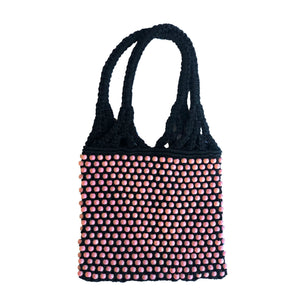 MACRAME BEAD BAG Pink/Black