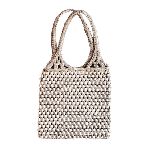 MACRAME BEAD BAG White/Natural