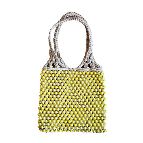 MACRAME BEAD BAG Yellow/Natural