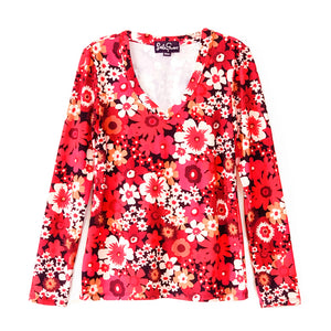 JUSTINE tee Flower Power Red