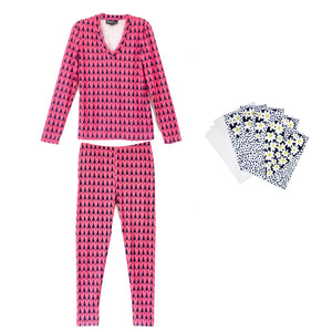 Valentine's GIFT SET Pink Hearts: REESE legging, BRIDGET tee & 4 Daisy Heart NOTECARDS