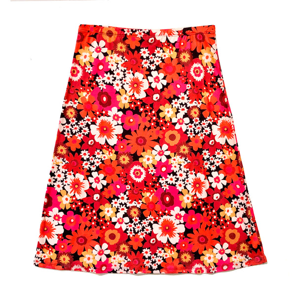 SLOAN midi-skirt Flower Power Red