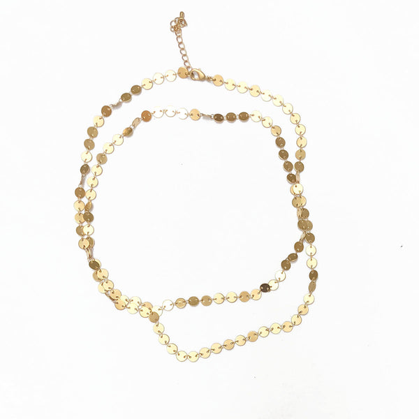 Gold-Plated Round Disc Necklace