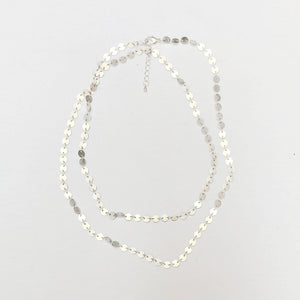 Silver-Plated Round Disc Necklace
