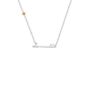 PERSONALIZED SATELLITE BIRTHSTONE NECKLACE
