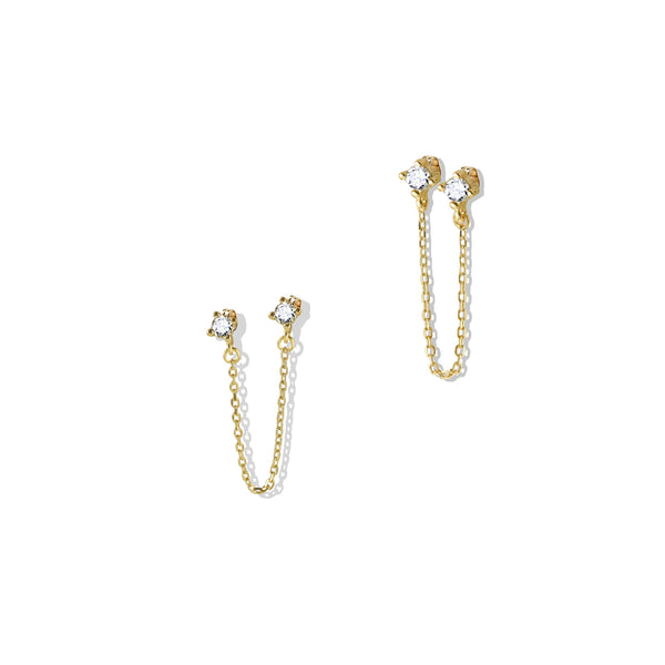 Double Stud Chain Earring