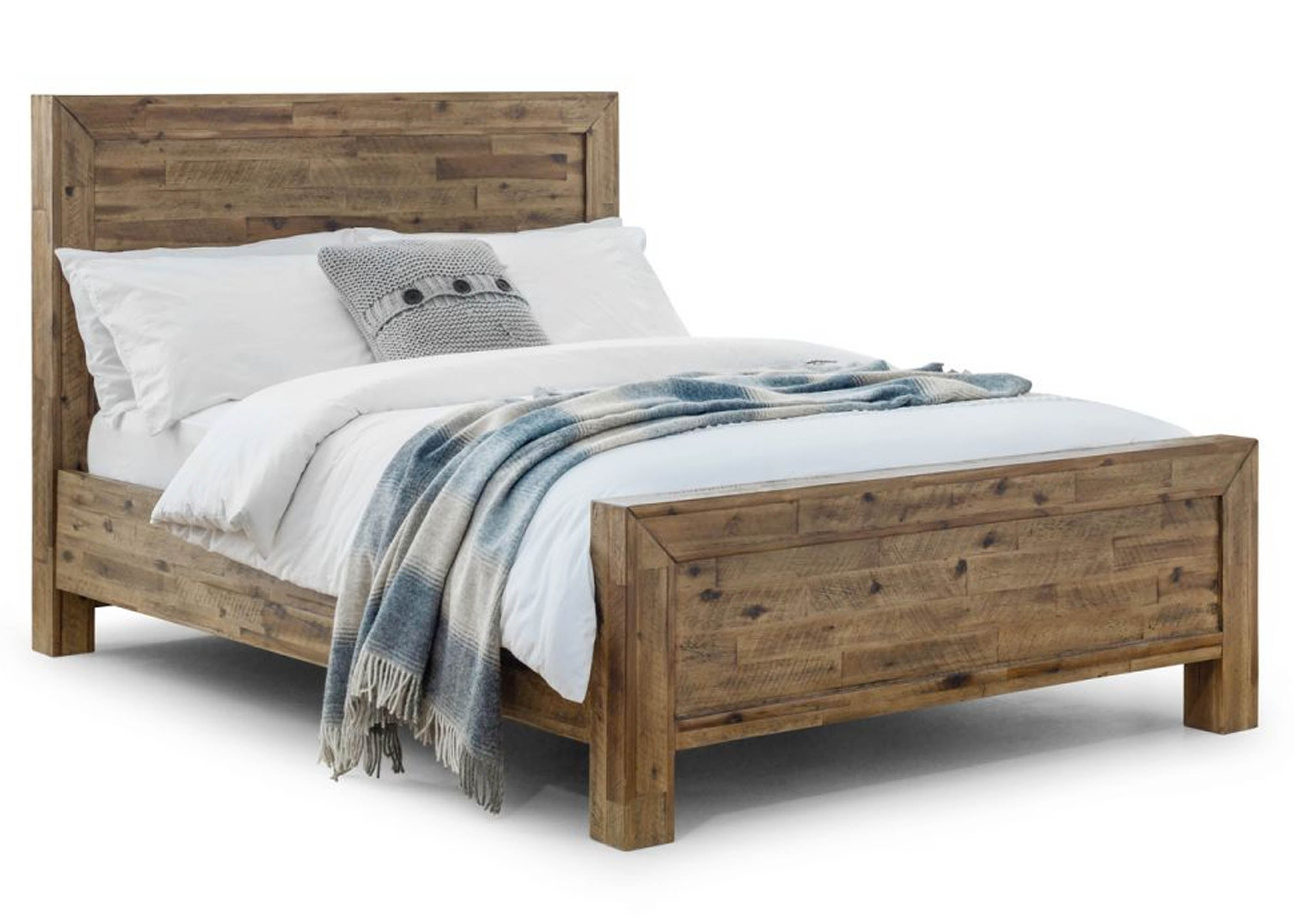 Rustic Oak Solid Bed Made From Reclaimed Wood Reinforced Beds