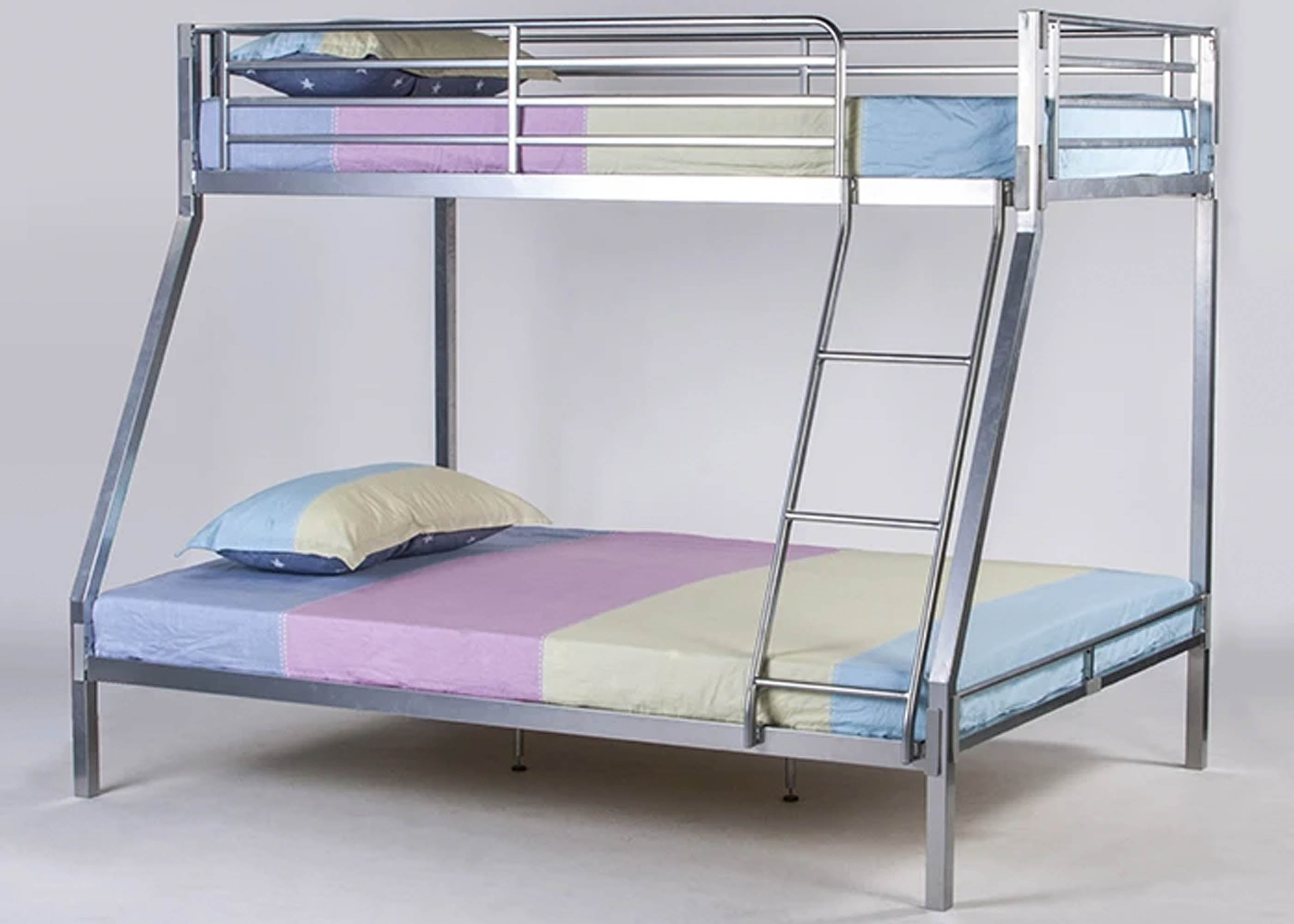 Picture of: Strong Metal Triple Bunk Bed Mattress Reinforced Beds