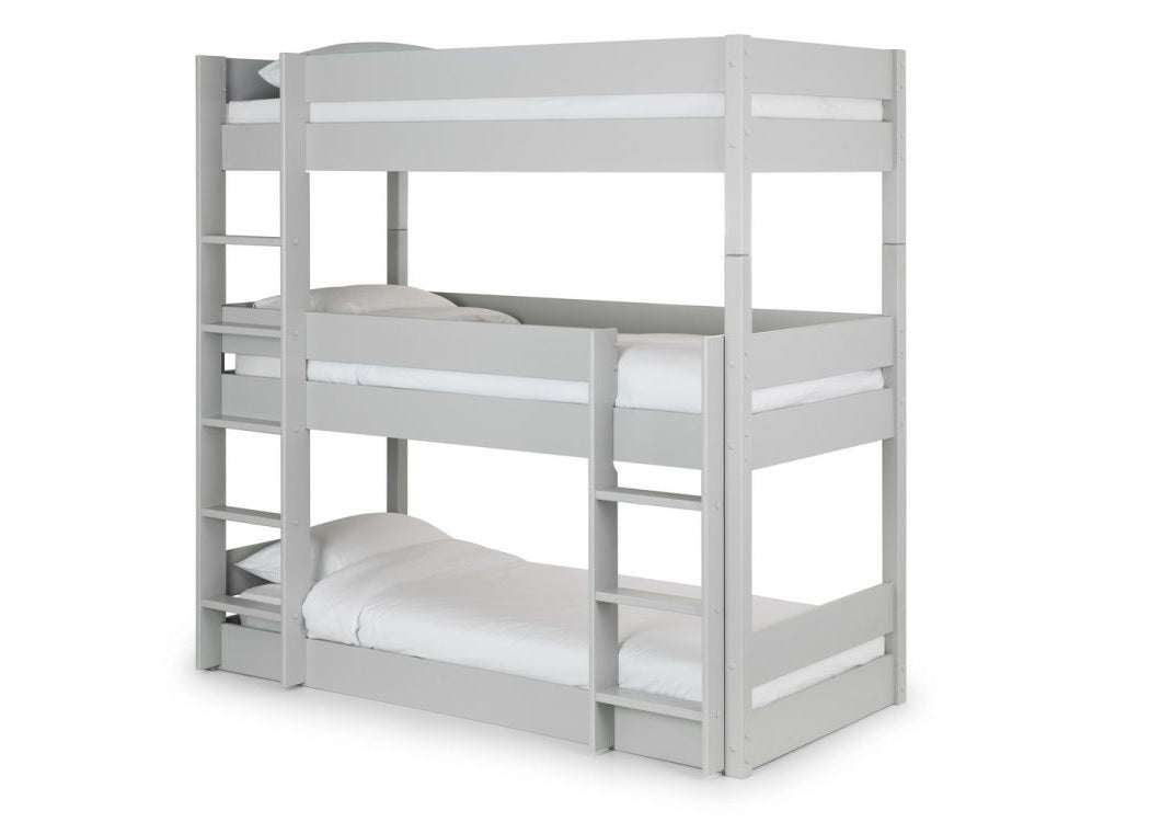 Strong Triple Sleeper Grey Bunk Bed Reinforced Beds