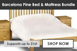 Barcelona Pine Bed and Mattress Bundle