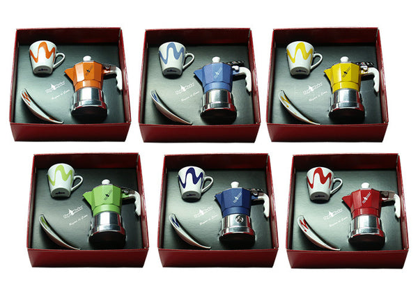 """Regina di Cuore"" 1 cup Moka Coffee Maker Gift Set - Blue or Red"