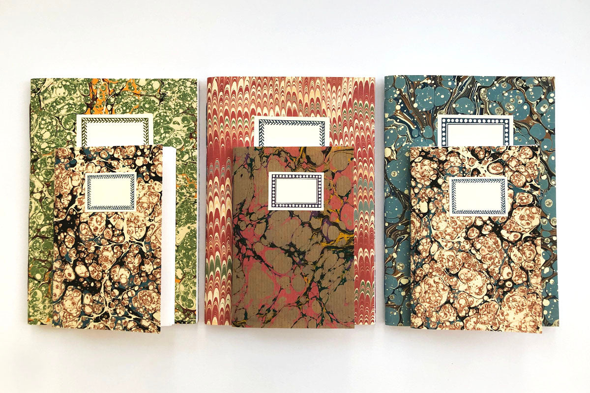 Marbled Notebook Gift Sets: A5 and A6 with labels