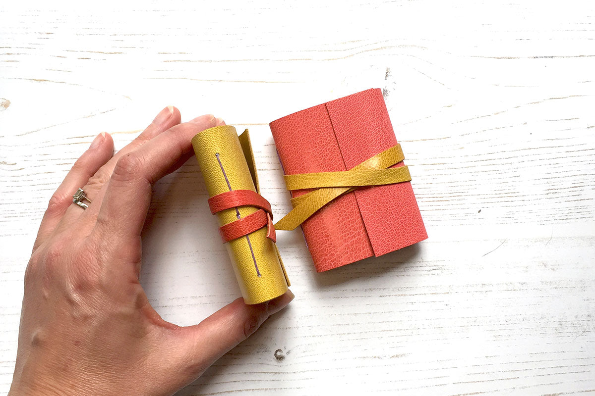 Mini Leather Journals: little notebook gifts for Christmas stockings and Mother's Day.