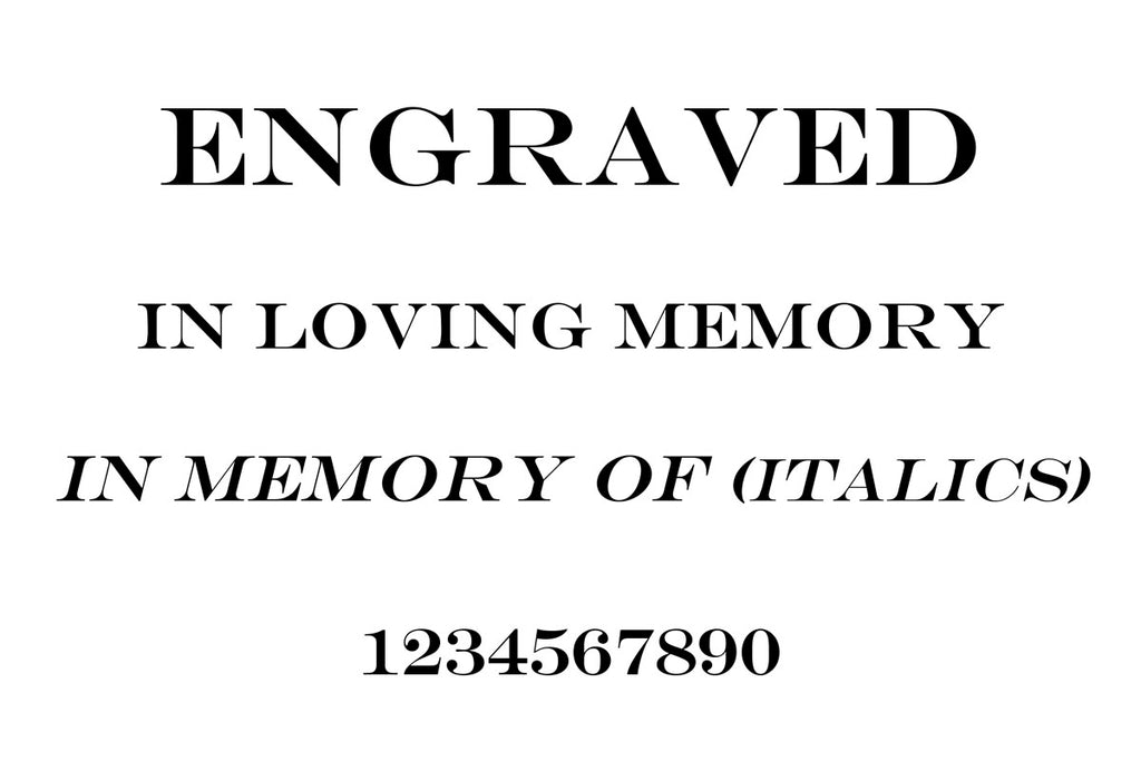 Engraved font for memorial albums and condolence books