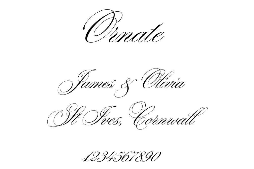 Ornate font for wedding stationery