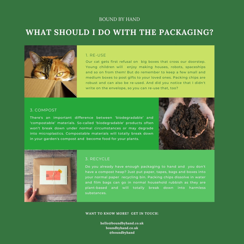 Sustainable Packaging used by Bound by Hand