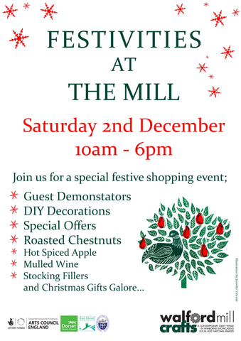 Susan Green bookbinder is demonstrating bookbinding at Walford Mill's Festivities 2 December in Wimborne
