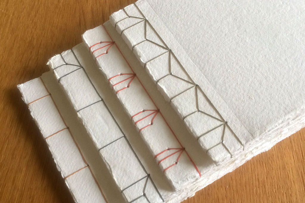 Japanese Stab Stitch Sketchbooks with recycled paper by Susan Green