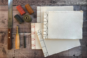 Handmade Sketchbook Japanese Stab Stitch style, with handmade recycled cotton rag khadi paper for watercolour