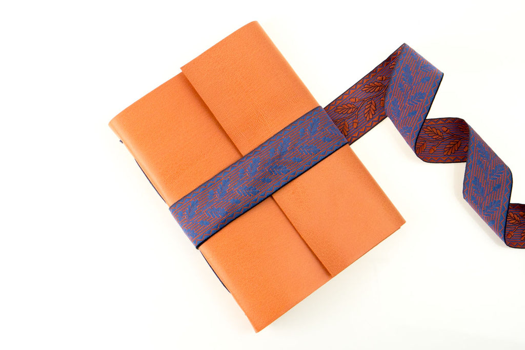Leather Journal Hand Bound with Silk Ribbon