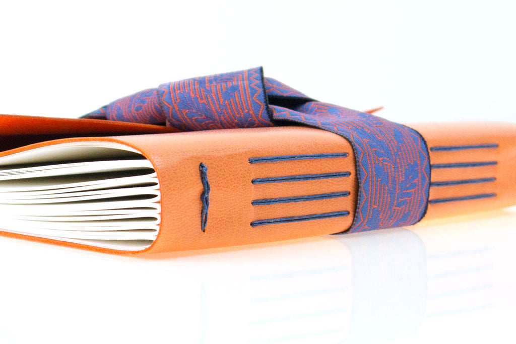 Bespoke Leather Journal with heritage woven Silk Ribbon hand made in England by Susan Green